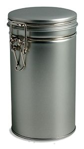 """(for herb storage in areas with light) Tin Tea Latch Round 6.5"""" High w/ Latch Cover ~ $2.15"""
