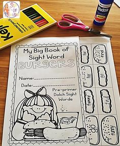 FREEBIE Interactive sight word burgers. Cut, sort & paste to build a burger. Dolch 220.