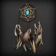 Brown Turquoise Stone Car Mirror Dream Catcher by ReinaJewelers, $20.00