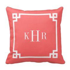 Coral Greek Key Border Custom Monogram Throw Pillow