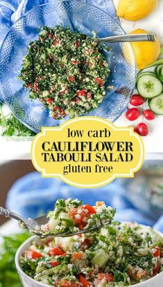 This low carbcauliflower tabouli is a great gluten free alternative to traditional tabouli. Full of herbs like parsley and mint with a light and refreshing lemony dressing. This chopped salad is a quick and delicious forsummer and has only 4.2g net carbs. #tabouli #tabbouli #parsleysalad #choppedsalad #lowcarb #keto #glutenfree #cauliflowerrice Keto Side Dishes, Side Dish Recipes, Easy Dinner Recipes, Easy Meals, Salad Recipes Low Carb, Paleo Recipes, Cooking Recipes, Kitchen Recipes, Healthy Cooking