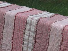 Pink Stripe Rag Homespun Quilt Tutorial from Jubilee Fabric