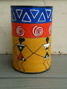 Hand painted pen pencil stand  holder indian tribal by Muktangan, $15.11