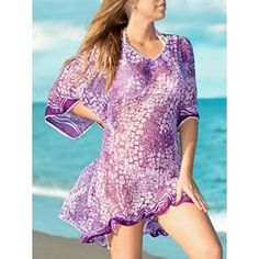 La Leela Sheer Chiffon Designer Lace Work Beach Cover up Swim Kaftan Purple