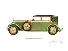 Antique print: picture of Isotto-Fraschini 1929 (Type 8-A) - Isotta Fraschini is an Italian brand known for some of the most luxurious cars ever built
