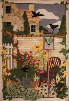 """Stitched by Karen Kugel. Needlepoint canvas from Melissa Shirley Designs """"Secret Garden"""" MLT-118. Stitch and Thread Guide by Tony Minieri. ©2016 Anthony Minieri® All Rights Reserved"""