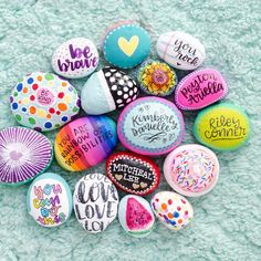 """905 Likes, 73 Comments - K I M B E R L Y Y O U N G (@seriouslydaisies) on Instagram: """"Pretty rocks!!! Here's some of the rocks, that me and the kids have painted, over the past couple…"""" #MarriageCounselingDIY"""