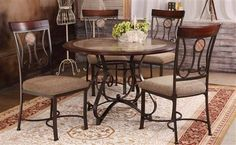 Barrie Cherry Copper Wood Metal Dining Table