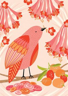 pink and orange/coral colour scheme with a vintage tea party twist. Bunting, hanging garlands (possibly of birds) table decorations, balloons all in these colours, with a hint of red to tie in with the red chairs. Bird Illustration, Illustrations, Little Birds, Whimsical Art, Bird Art, Bird Feathers, Beautiful Birds, Pet Birds, Pretty In Pink