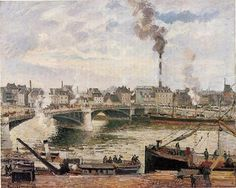 The Great Bridge, Rouen, 1896 by Camille Pissarro. Impressionism. cityscape. Carnegie Museum of Art, Pittsburgh, PA, US