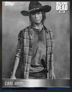 Carl Grimes (Blue Parallel) Black & White Portrait (Series 1) Insert Card The Walking Dead 2016 Topps