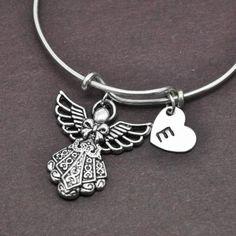 Angel Bangle, Sterling Silver Bangle, Angel Bracelet, Expandable Bangle, Personalized Bracelet, Charm Bangle, Initial Bracelet, Monogram by BangleLand on Etsy