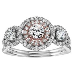 14k rose and white gold 1.00cttw halo diamond engagement ring