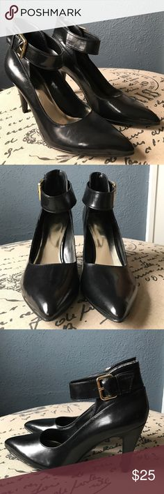 "Fabulous Nine West Pointy Ankle Strap Black Heels Never worn, new condition! These are gorgeous, hate to sell, but I never wear heels anymore! These are hot shoes with a thick ankle strap and a sturdy 3-1/2"" heel, pointy toe style, and gold tone buckle detail. Glossy black genuine leather, but not as shiny as patent. Soles and foot beds are unmarked as these are unworn. Size 8-1/2, true to size, comfy medium width. Nine West Shoes Heels"