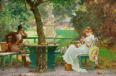 Marcus Stone (1840 – 1921) In Love.  He was a genre painter and the son of Frank Stone ARA, who trained him.  He began to exhibit at the Royal Academy before he was eighteen; and a few years later he illustrated with much success books by Charles Dickens, Anthony Trollope, and other writers, friends of his family. He was an early member of The Artists Rifles.