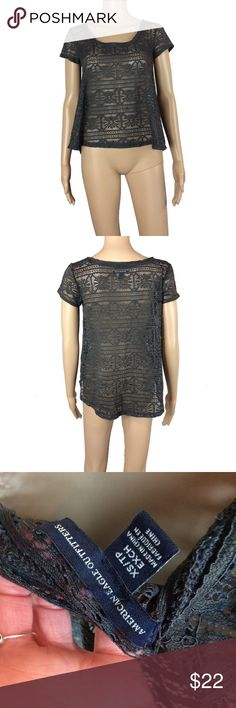 NWOT American Eagle sheer lace top NWOT - Never worn, no signs of wear. no rips; stains, pilling, pulls, etc. size XS - fits like a very loose size small. very flowy midriff. extremely soft material. can be worn with a bralette, slip or tank top. marking this as a grey/black because depending on the lighting it looks like either color. i'd call it a dark grey though.  mannequin is 5'8 and a size XS/2 and is very loose on her as shown. American Eagle Outfitters Tops