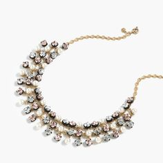 J.Crew Valentine's Day Shop: women's crystal and pearl studded swing necklace.