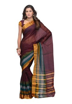 Shop Fabdeal Cotton Bazaar Dark Brown Coloured Saree - MUXSR8331RRC online at lowest price in USA and purchase various collections of #Cottonsarees in Fabdeal brand at grabmore.com the best #onlineshopping store in USA.