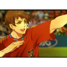2010 fifa world cup axis powers hetalia brown hair green eyes highres... ❤ liked on Polyvore featuring hetalia, anime and aph spain