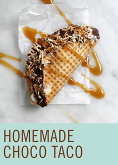 This Homemade Choco Taco recipe brings back childhood memories of ice cream truck treats! Frozen Desserts, Just Desserts, Delicious Desserts, Yummy Food, Food Truck Desserts, Dessert Recipes, Dessert Ideas, Mexican Food Recipes, Healthy Snacks