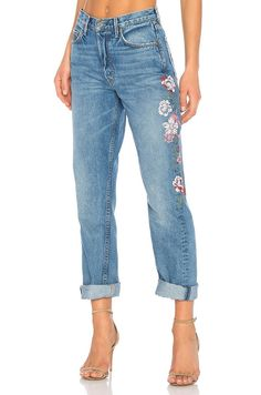 The Embroidered Jeans All the It Girls Own via @WhoWhatWear