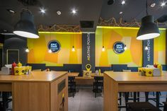 EPIC BURGER - INTERIOR DESIGN wall graphics for retail space Food Counter, Retail Space, Interior Design, Wall, Artwork, Pizza, Graphics, Interiors, Furniture