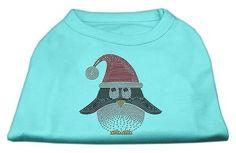Santa Penguin Rhinestone Dog Shirt Aqua Med (12)