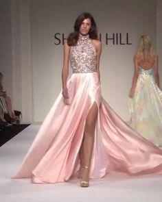 Sherri Hill Look Spring Summer 2018 Collection : Beautiful Embellished Backless Slit Halter Rose A-Lane Prom Dress / Gown with Open Back, Spaghetti Straps and a Train. Runway Show by Sherri Hill Night Gown Dress, The Dress, Dress Long, Satin Dresses, Elegant Dresses, Couture Dresses Gowns, Casual Gowns, Winter Ball Dresses, Spring Summer