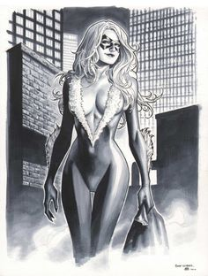 Black Cat commission / NYCC print by Jim Cheung (2010) Comic Art