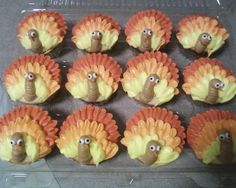 Turkey Cupcakes - love the feathers, hate the neck and head.