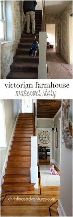 Victorian Farmhouse Entryway and Hallway You won't believe this makeover! One of the best we've seen- blending an old fixer upper Victorian house into a collected farmhouse home. Such great DIY ideas in here! Home Renovation, Farmhouse Renovation, Farmhouse Remodel, Home Remodeling Diy, Farmhouse Interior, Farmhouse Decor, Farmhouse Plans, Country Farmhouse, French Farmhouse