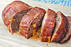 Bacon wrapped meatloaf stuffed with cheese