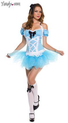 3871e65215 Music Legs Blue White Sexy Miss Wonderland Alice in Wonderland Fairytale  Storybook Party Halloween Costume