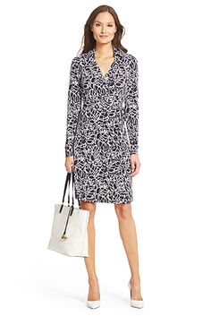 Like wrap dress style and black and white print.  Unsure how it would look on me.  May be too busy. New Jeanne Two Silk Jersey Wrap Dress