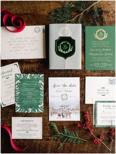 Holiday Vermont Winter Wedding Invitation Suite: This Martha Stewart Weddings feature was a magical Christmas wedding. A Christmas themed Red and green invitation sweet with fresh winter greenery photographed by Rodeo and Co Photography. Maine Wedding Venues, Winter Wedding Receptions, Winter Weddings, Winter Wedding Invitations, Wedding Invitation Suite, Magical Christmas, Christmas Wedding, Nex York, Vermont Winter