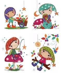 Set of 4 Elfin Wood cross stitch kits - save over 20% by purchasing together.