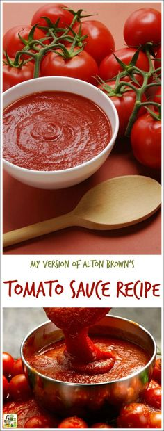 Looking for an easy homemade tomato sauce recipe? Or want to make easy fresh tomato pasta sauce from scratch? Here's my version of Alton Brown's tomato sauce recipe. Double the recipe and freeze half and you'll have spaghetti sauce in the freezer ready to go for dinner later! #recipe #easy #recipeoftheday #healthyrecipes #glutenfree #dinner #spaghetti #sauce #tomato #sauce #easyrecipes