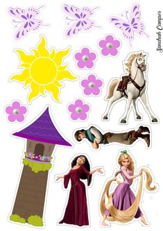 Bolo Rapunzel, Tangled Rapunzel, Rapunzel Birthday Party, Tangled Party, Imprimibles Toy Story Gratis, Princess Party, Disney Princess, Art Disney, Printable Planner Stickers
