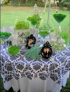 wedding picture & green candy buffets