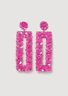 Sequin drop earrings Diy Earrings Dangle, Jewelry Design Earrings, Tassel Jewelry, Bead Jewellery, Fabric Jewelry, Cute Jewelry, Fashion Earrings, Handmade Beaded Jewelry, Beaded Jewelry Patterns