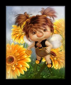 ♥ Little Design ♥ Fantasy Images, Art Images, Fantasy Art, Fairy Pictures, Cute Pictures, Pixie Tattoo, Bratz, Sunflower Pictures, Graffiti