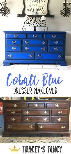 Bright Cobalt Blue Dresser Makeover by Tracey's Fancy with Dixie Belle Paint #Bluefurniture Blue Painted Furniture How to Paint Furniture Painted Hardware Silver Handles Early American Dresser #paintcolorblue