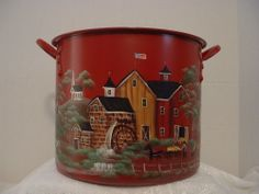 VINTAGE KITCHEN KETTLE,ROOSTER AMISH FARM OLD MILL FOLK ART TOLE PAINTED BY JMD