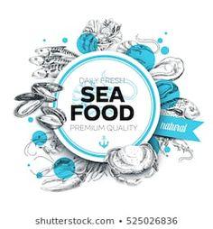 Illustration of Vector hand drawn sea food Illustration. Sketch vector art, clipart and stock vectors. Menu Design, Label Design, Branding Design, Fish Banner, Sketch Background, Fish Logo, Shell, Vector Hand, Banner Printing