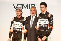 Vijay Mallya, Esteban Ocon y Sergio Pérez, Sahara Force India