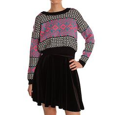 Hearts and Bows Blue & Pink Massa Cropped Knit