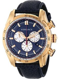 Versace Men's V-Ray Rose Gold-Tone Watch With Blue Leather Strap: Watches Fine Watches, Cool Watches, Men's Watches, Black Watches, Analog Watches, Black Face Watch, Versace Men, Versace Watches, Discount Watches