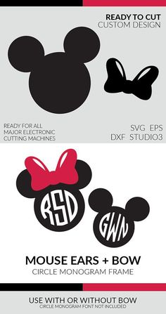 Mouse Ears Circle Monogram Frame + Bow (SVG, EPS, DXF, Ai, Studio3) - Ready for Silhouette, Cricuit, and all other cutting machines