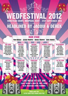 WEDFEST table plan! But seriously, I want a line up poster for all the amazing bands and DJs I will have playing through the day!!