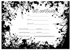Gift cards are always nice creative habitat tip top pottery this black splashes gift certificate template is beautifully designed in word and easily customizable you can send this certificate to art lovers yadclub Gallery